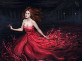 Red wine dress by Pepe-Navarro