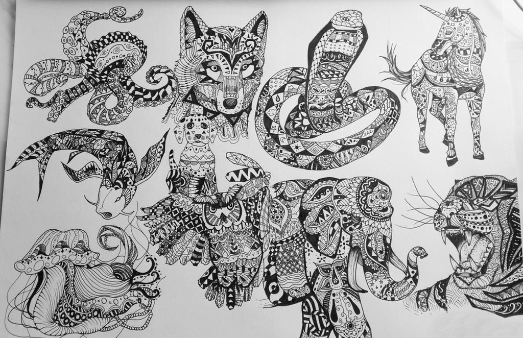 Zentangle Animals By Katcsy On Deviantart