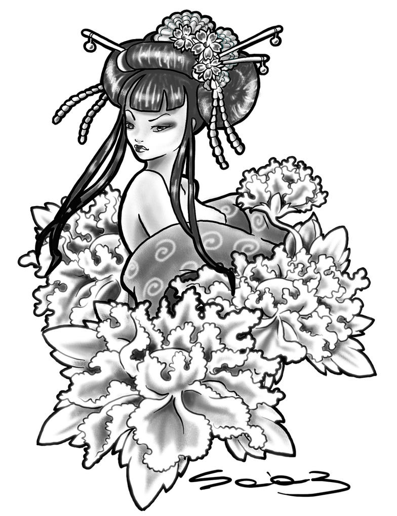 geisha tattoo by vigaia on deviantart. Black Bedroom Furniture Sets. Home Design Ideas