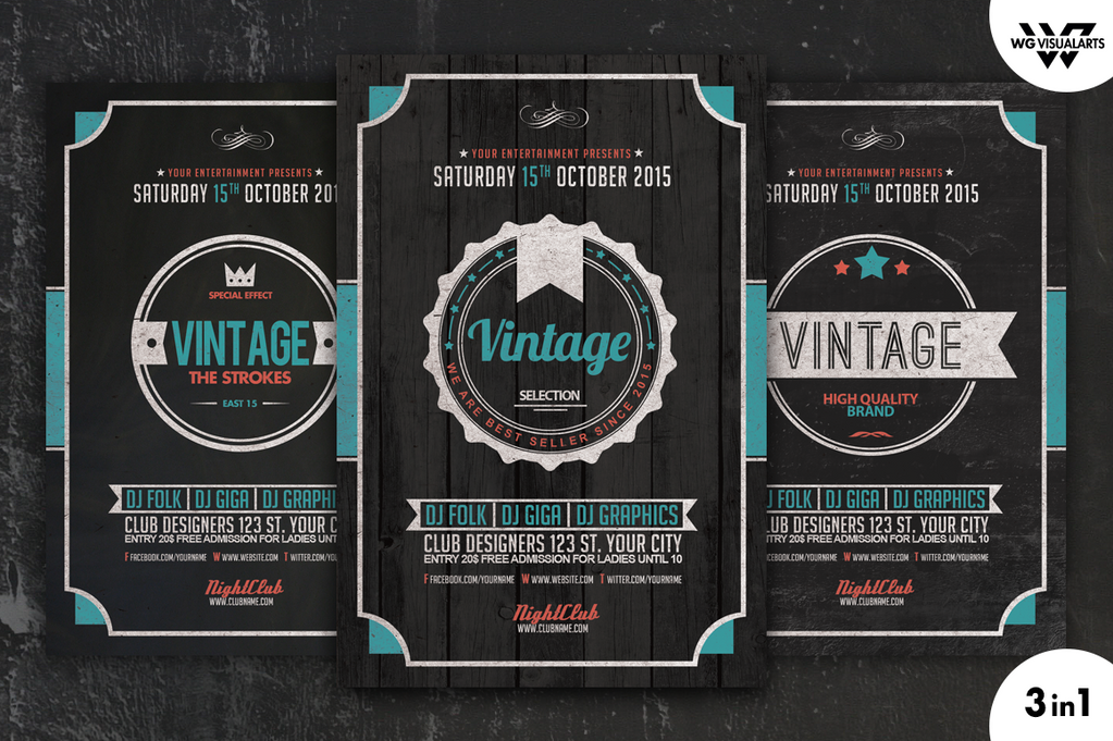 VINTAGE RETRO Flyer Template Vol4 by WGVISUALARTS on DeviantArt – Retro Flyer Templates