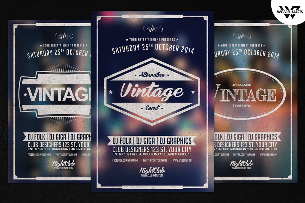 Vintage Retro Flyer Template Vol1 By Wgvisualarts On Deviantart