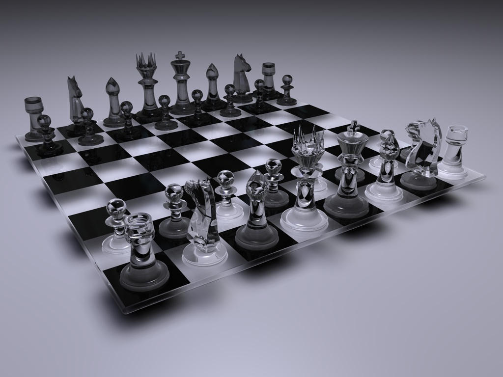 Crystal Chess Set With Glass Board