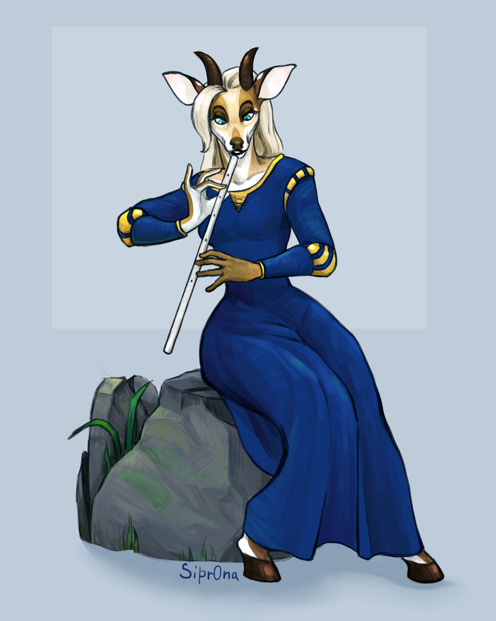Lady and flute by Sipr0na
