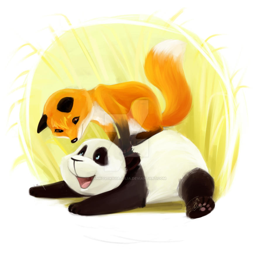 Panda and Fox by YankovskayaJulia on DeviantArt