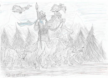 Odin with his animal familiars by Mara999
