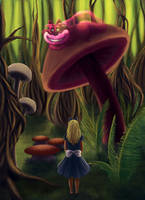 Alice and the Cheshire Cat by soulaoi