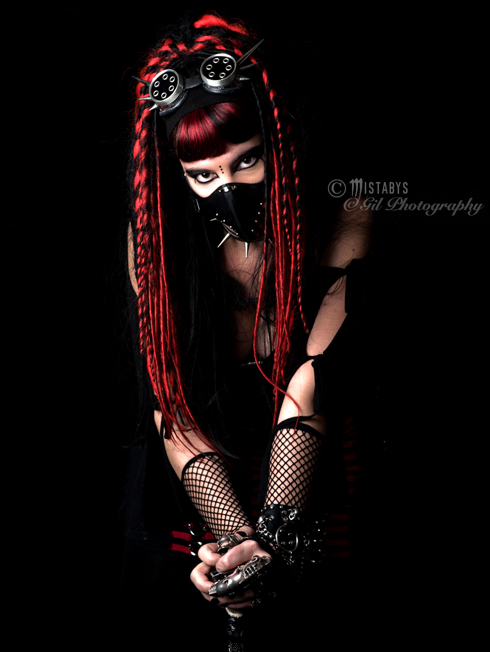 red cybergoth demon girl by mistabys