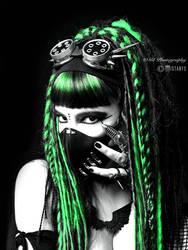green cyber-goth girl