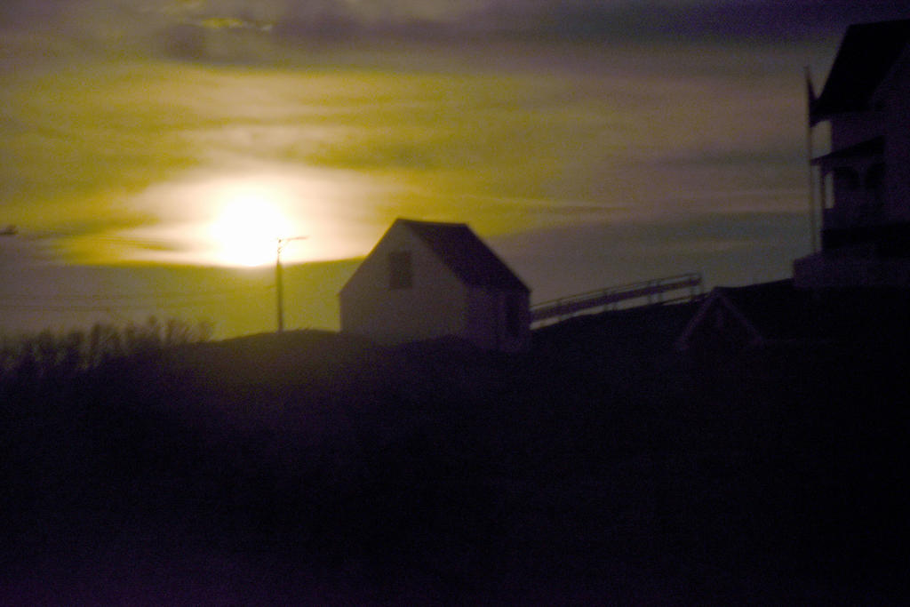 Nubble Lighthouse Shack, Super Moon Rising 4 by Miss-Tbones