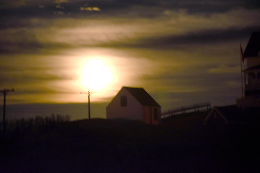 Nubble Lighthouse Shack, Super Moon Rising 6 by Miss-Tbones