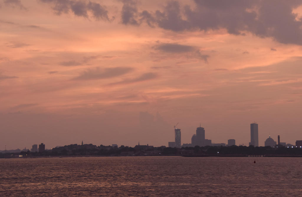Sunset Clouds Over Boston Buildings by Miss-Tbones