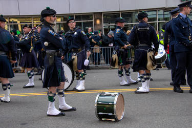 Drums/Drummers Waiting, St Patricks Day Parade by Miss-Tbones