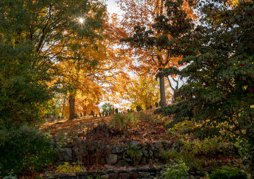 Looking Up the Hill, Autumn Color and Headstones