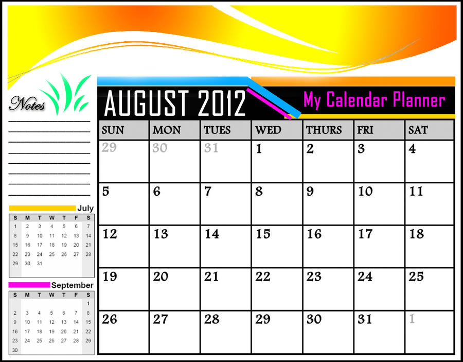 My Calendar Planner : My calendar planner for august by khingfiles on