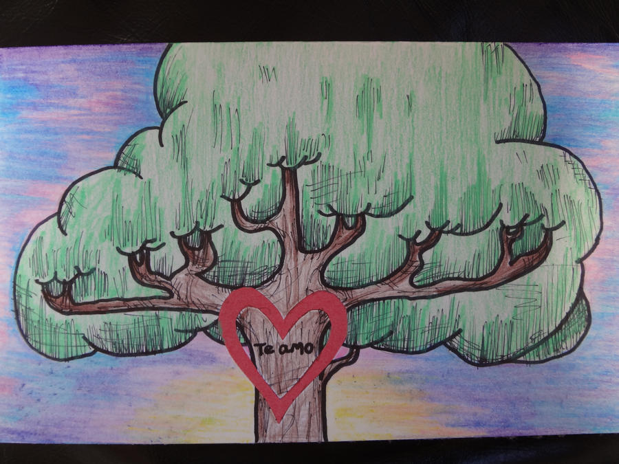 tree drawing colored pencil card by aliciagailstewart on deviantart