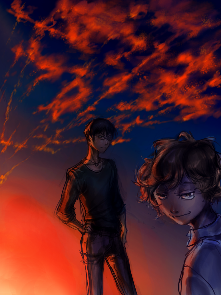 Zankyou no Terror Sunset of destroyed world by Tkaczka