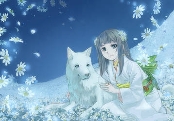 White flowers White dog and... by sirauo