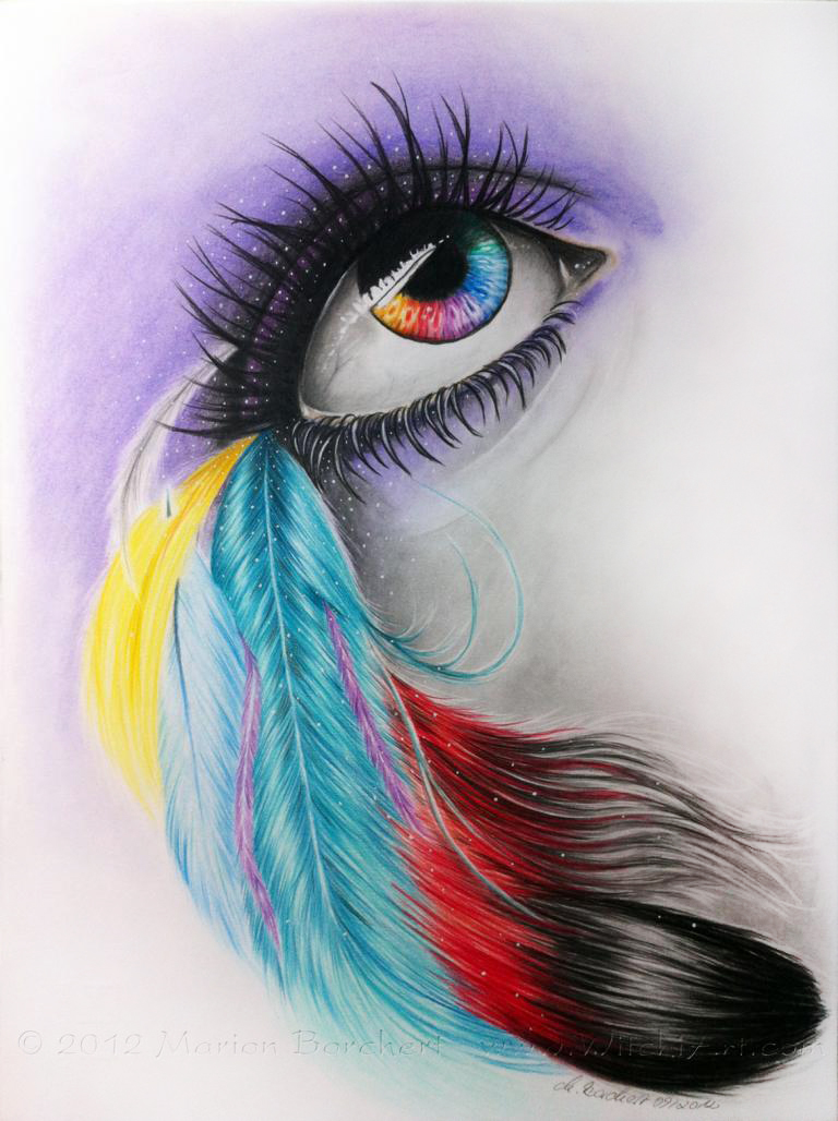 Color feather eye