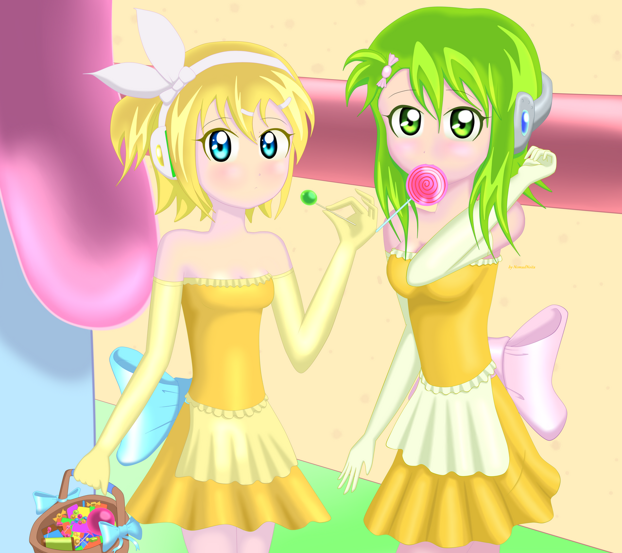 Gumi and Rin - Sweet Candy by NomadNoita