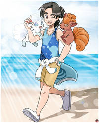 TRAINER S.BLUE AND HIS VULPIX DUO by Alexalan