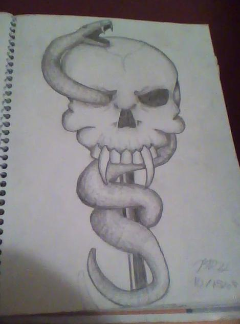 Skull And Snake By Ceeceebaby