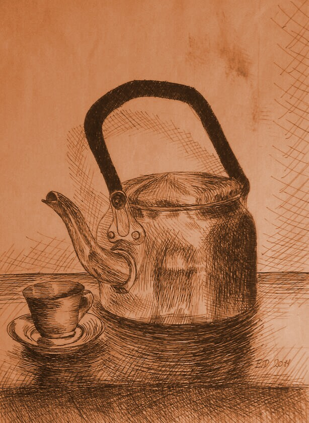 Drawing - The Kettle And Cup Of Coffee by eduaarti