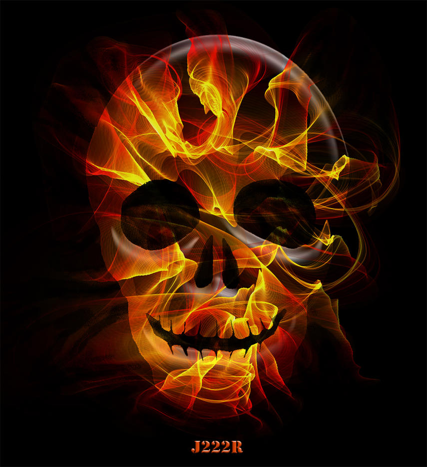Skull and flames by CharlieMerci
