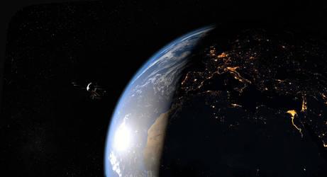 Space nightfall by JohannDelestree