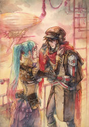 Steampunk Amber and Zik by Kutty-Sark