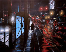Wet City at Night.  An acrylic painting by Flooko by FLOOKO