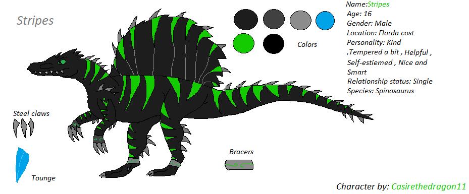 Stripes ( Dinosaur OC and Sona ) by Casirethedragon11