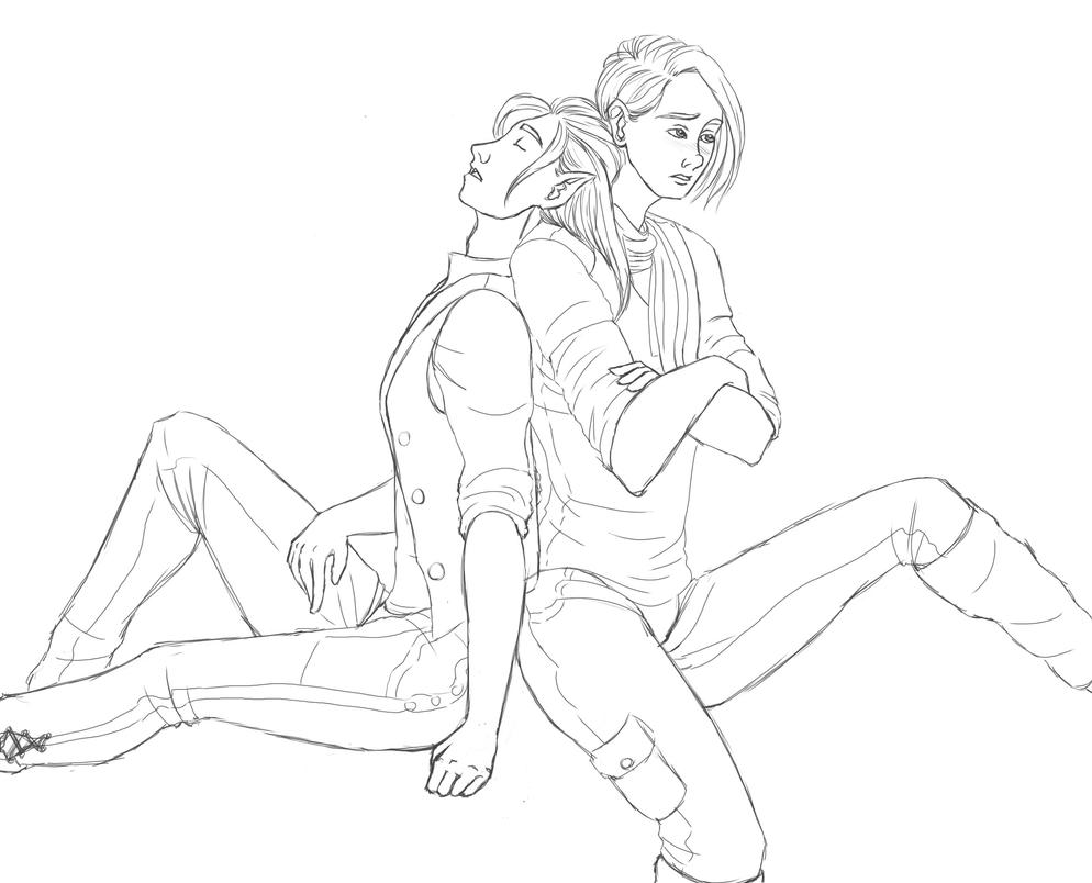 In This Together Lineart (Daily Sketch 31-33/365) by SvbwayShayla