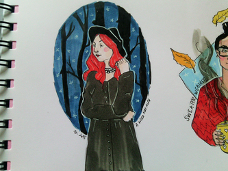 Red Haired Witch - INKtober 1