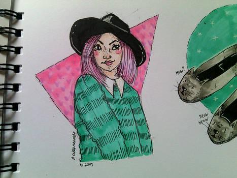 Pink Hair Sweet Girl | INKtober 3