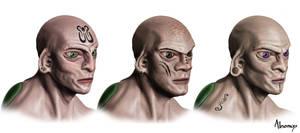 Male hominus heads