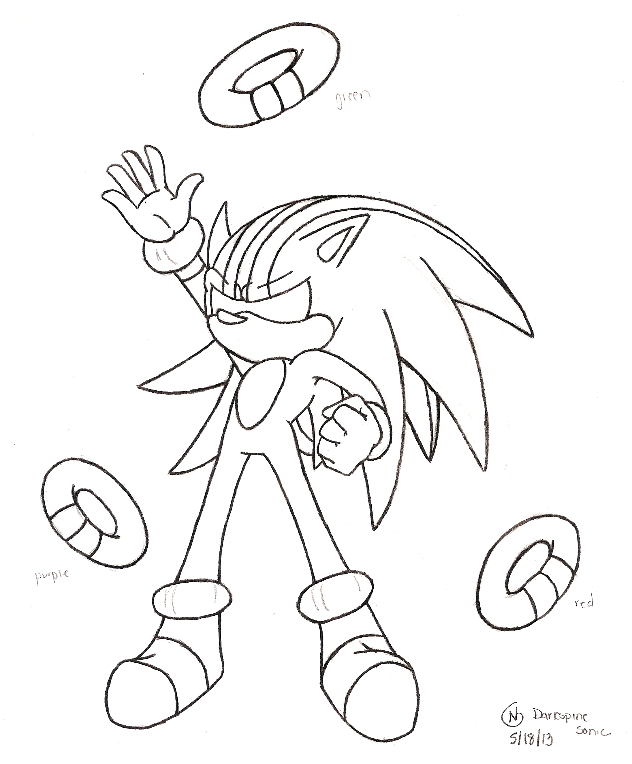 dark spine sonic free coloring pages