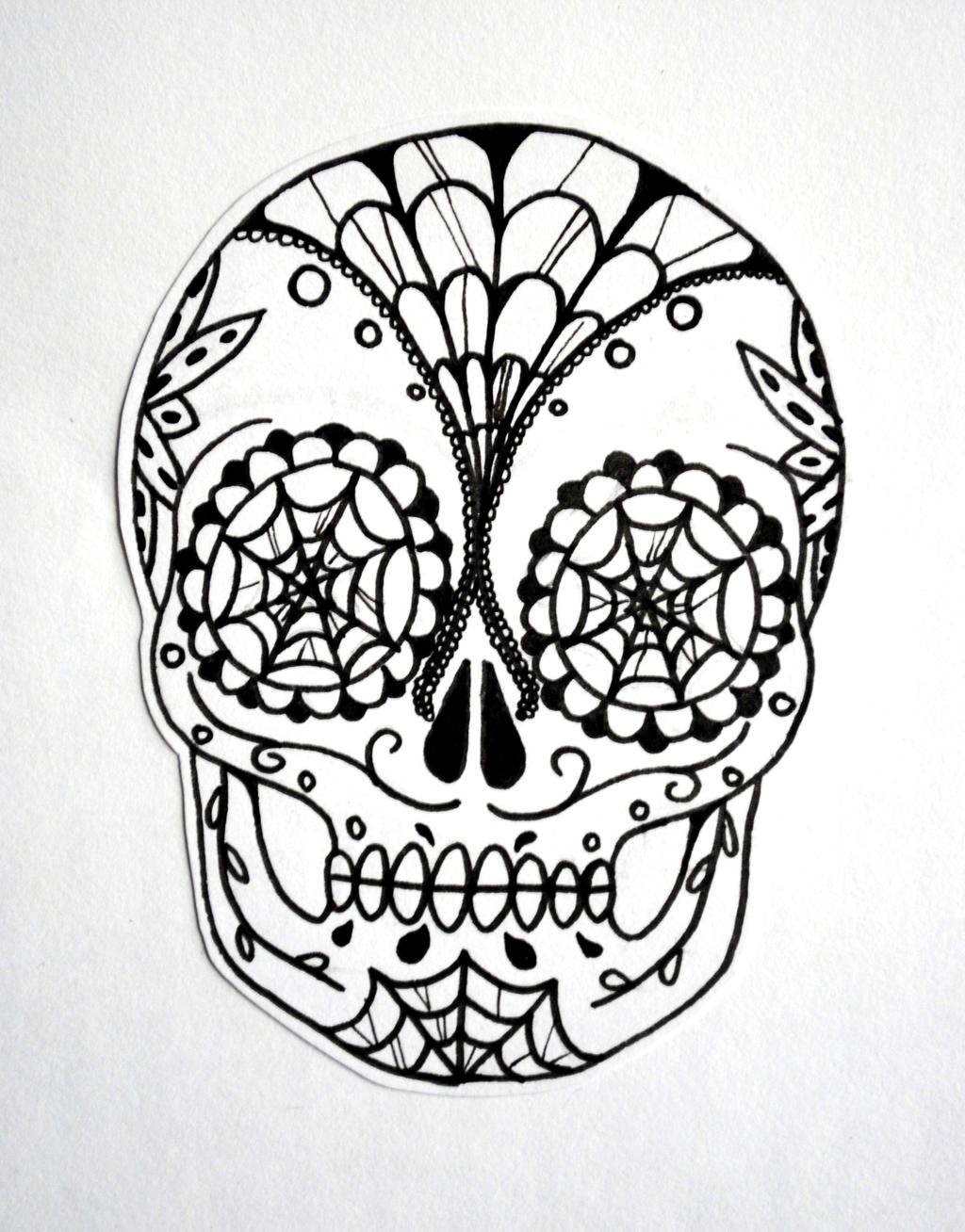 It's just a graphic of Sassy Black And White Sugar Skull Drawing