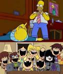 Loud sisters laughing at Homer hitting Mr Burns