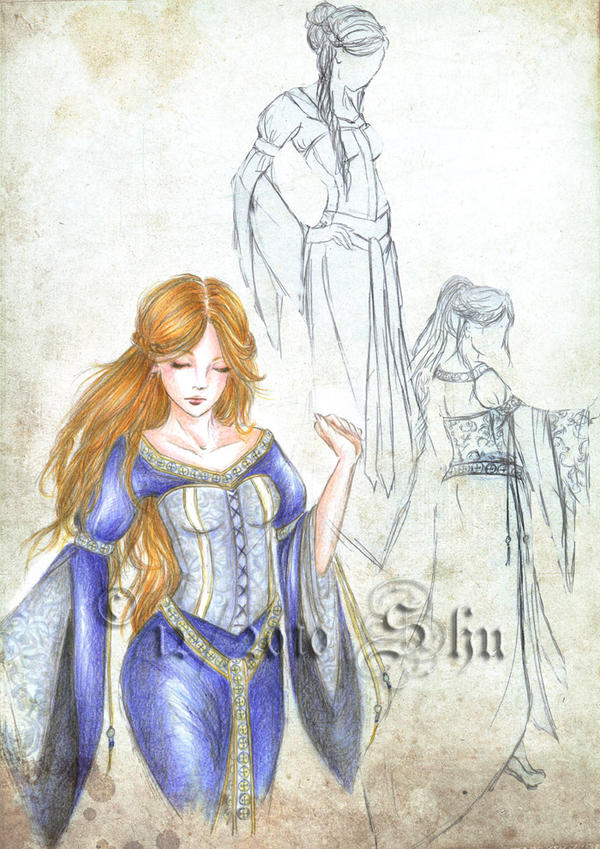 Blue medieval dress - concept by Shu-Maat