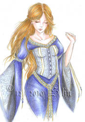 Blue medieval dress by Shu-Maat
