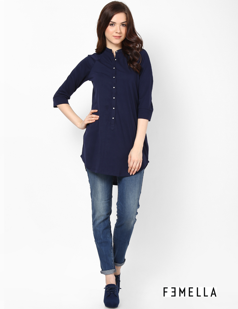 Button down shirt tunic buy tunics online in india by for Buy art online india