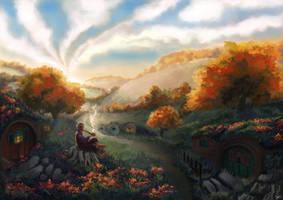 Bilbo resting in the Shire by Erissera