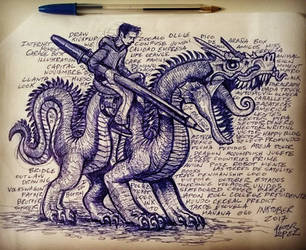 Writer Riding Demon Dragon by heckthor