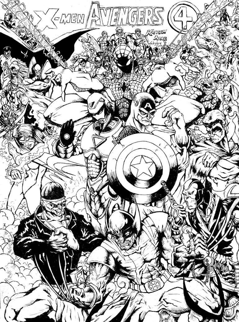 Line Art Marvel : Marvel universe by skyloreang on deviantart