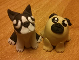 Pug and Boston Terrier by Euphyley