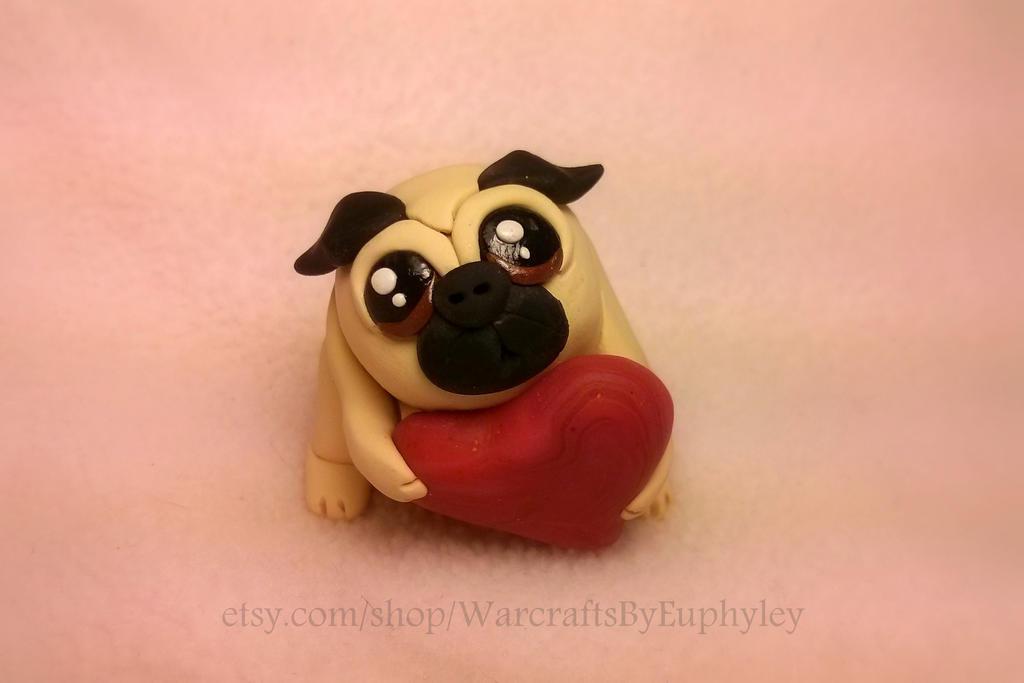 Polymer Clay Valentine Pug by Euphyley