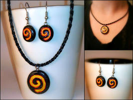 Hearthstone Blackrock Mtn Necklace and Earrings by Euphyley