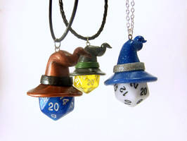 D20 Necklaces with Wizard Hats
