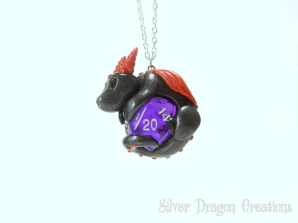 Graphite Pearl Dragon on Translucent Purple d20 by Euphyley