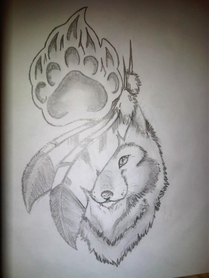 Wolf feather bear poor by codyl132 on deviantart for Wolf tattoo with feathers
